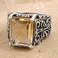 Men's citrine cocktail ring, 'Sunny Love' - Men's Sterling Silver and Citrine Cocktail Ring