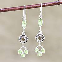 Peridot and smoky quartz dangle earrings, 'New Dream in Green' - Peridot and Smoky Quartz Dangle Earrings from India