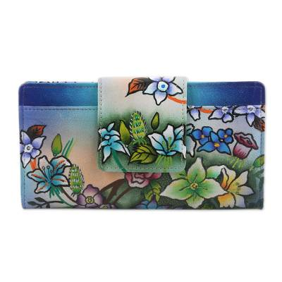 Hand Painted Leather Floral Wallet from India
