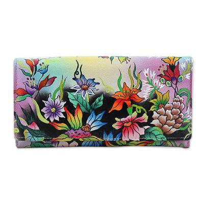 Hand Made Leather Floral Wallet from India