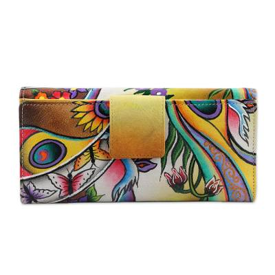 Hand Crafted Leather Floral Wallet from India