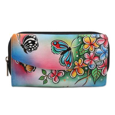 Hand Painted Leather Butterfly Wallet from India