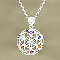 Multi-gemstone pendant necklace, 'Chakra Medallion' - Multi-Gemstone and Sterling Silver Chakra Pendant Necklace