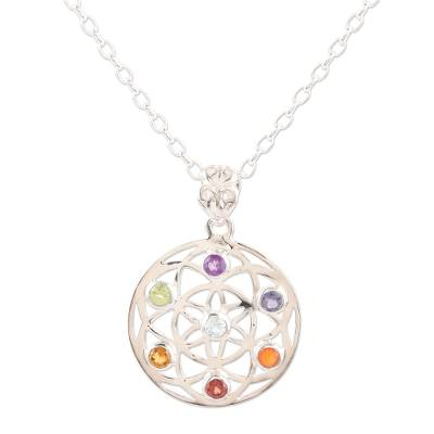 Multi-gemstone pendant necklace, 'Chakra Medallion' - Multi-Gemstone and Sterling Silver Chakra Pendant Necklace