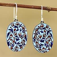 Ceramic dangle earrings, 'Fresh-Cut Flowers' - Hand Painted Ceramic Floral Dangle Earrings