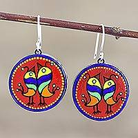 Ceramic dangle earrings, 'Joyful Birds' - Hand Made Round Ceramic Dangle Earrings from India
