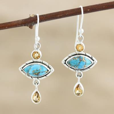 Citrine dangle earrings, 'Sky and Sun' - Composite Turquoise and Citrine Dangle Earrings