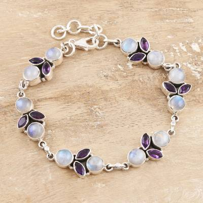 Amethyst and rainbow moonstone link bracelet, 'Misty Morning' - Rainbow Moonstone and Amethyst Sterling Silver Link Bracelet