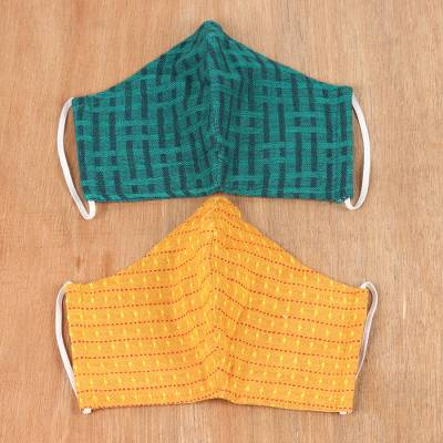 Cotton face masks, 'Elegant Fusion' (pair) - Pair of Cotton Face Masks in Marigold and Emerald