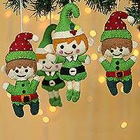 Wool felt ornaments, 'Elf Greetings' (set of 4) - Handmade Wool Felt Elf Ornaments (Set of 4)