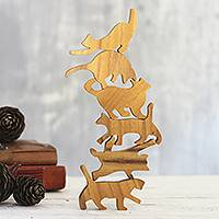 Teak Wood game, 'Ninja Cats' (6 pieces) - Hand Carved Teak Wood Cat-Themed Stacking Game (6 Pieces)