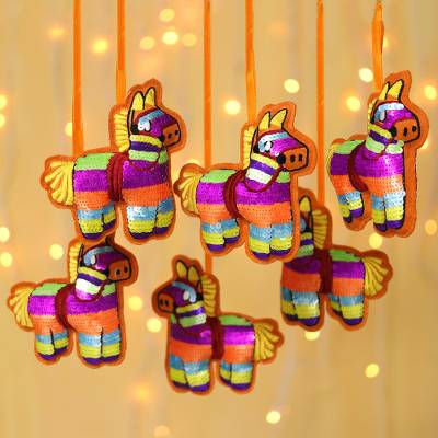 Sequined wool felt ornaments, 'Holiday Piñatas' (set of 6) - Sequined Horse Piñata Ornaments (Set of 6)