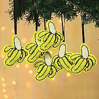 Beaded wool felt ornaments, 'Go Bananas' (set of 6) - Fun Beaded Banana Christmas Ornaments (Set of 6)