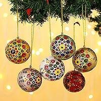 Papier mache ornaments, 'Colors of Christmas' (set of 6) - Multicolored Papier Mache Ornaments (Set of 6)