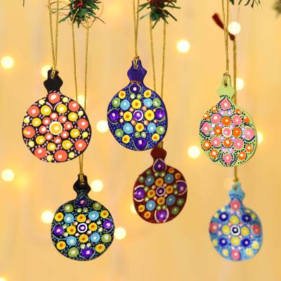 Hand painted ornaments, 'Holiday Colors' (set of 6) - Hand Painted Multicolored Christmas Ornaments (Set of 6)