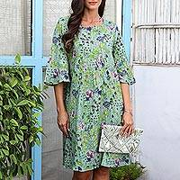Screen printed cotton sheath dress, 'Lush and Lovely' - Screen Printed Floral-Motif Cotton Sheath Dress