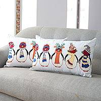 Embroidered cotton cushion covers, 'Penguin Party' (pair) - Embroidered Cotton Penguin Cushion Covers from India (Pair)
