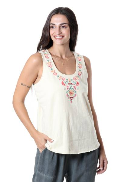 Embroidered cotton tank top, 'Floral Story in Light Green' - Embroidered Cotton Tank Top from India