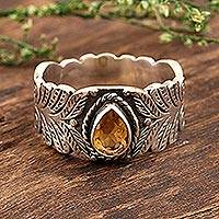 Citrine cocktail ring, 'Sunny Drop' - Hand Crafted Citrine and Sterling Silver Cocktail Ring
