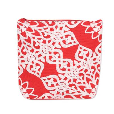 Red Embroidered Cotton Cosmetic Bag from India