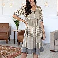 Hand woven cotton dress, 'Summer Picnic' - Hand Woven Cotton Empire Waist Dress from India