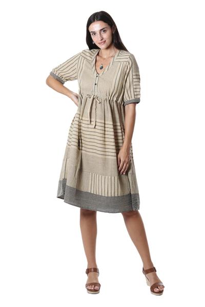Hand Woven Cotton Empire Waist Dress from India