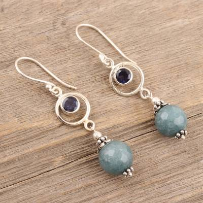 Agate and iolite dangle earrings, 'Winter Chill' - Hand Crafted Agate and Iolite Dangle Earrings from India