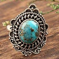 Sterling silver cocktail ring, 'Golden Turquoise' - Composite Turquoise and Sterling Silver Cocktail Ring