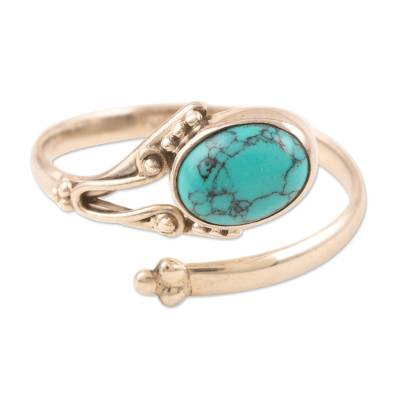Sterling silver wrap ring, 'Wrapped in Turquoise' - Hand Crafted Sterling Silver Wrap Ring from India