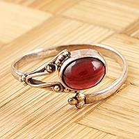 Garnet wrap ring, Wrapped in Red