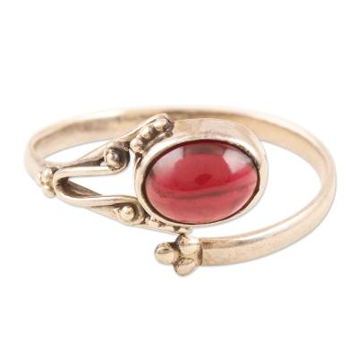 Garnet wrap ring, 'Wrapped in Red' - Handmade Garnet and Sterling Silver Wrap Ring