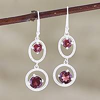 Garnet dangle earrings, 'Magic Spell' - Garnet and Sterling Silver Dangle Earrings from India