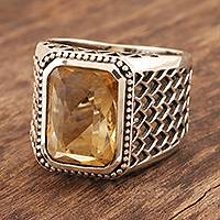 Men's citrine ring, 'Sun Chariot' - Handmade Men's Citrine and Sterling Silver Ring