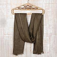 Silk shawl, 'Olive Elegance' - Hand Woven Eri Silk Shawl from India