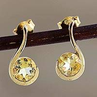 Gold-plated citrine drop earrings, 'Sun Droplet' - Gold-Plated Sterling Silver Citrine Drop Earrings