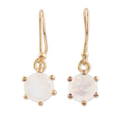 Gold-plated rainbow moonstone dangle earrings, 'Misty Freeze' - Gold-Plated Rainbow Moonstone Dangle Earrings from India