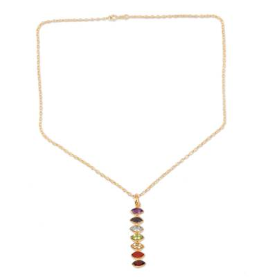 Gold-plated multi-gemstone pendant necklace, 'Chakra Stones' - Gold-Plated Multi-Gemstone Pendant Necklace from India