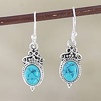 Sterling silver dangle earrings, 'Classic Duo' - Hand Crafted Sterling Silver Dangle Earrings from India