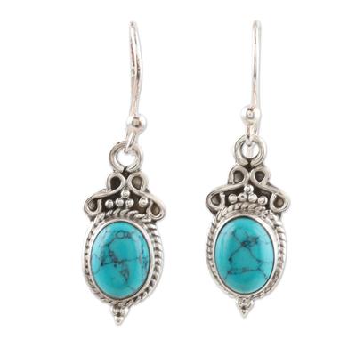 Sterling silver dangle earrings, 'Classic Duo' - Hand Crafted Sterling Silver Dangle Earrings from India