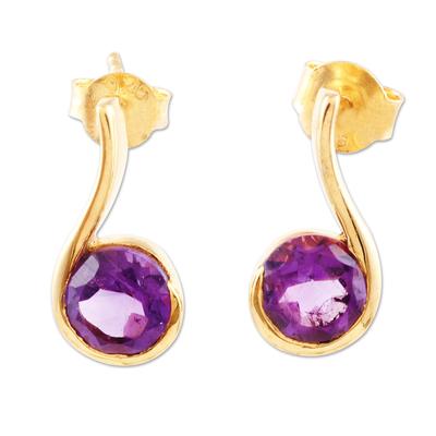 Gold-plated amethyst drop earrings, 'Purple Droplet' - Gold-Plated Sterling Silver Amethyst Drop Earrings
