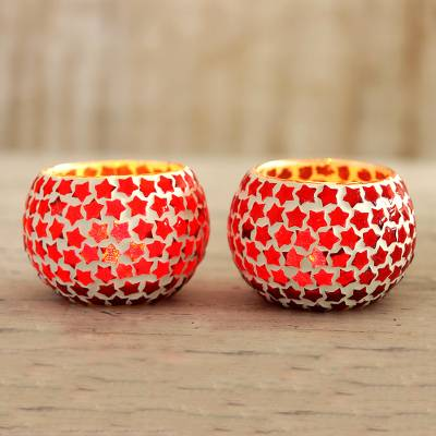 Glass mosaic tealight holders, 'Burning Stars' (pair) - Red Star Glass Mosaic Tealight Holders (Pair)
