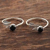 Onyx toe rings, 'Midnight Feathers' (pair) - Black Onyx and Sterling Silver Toes Rings (Pair)