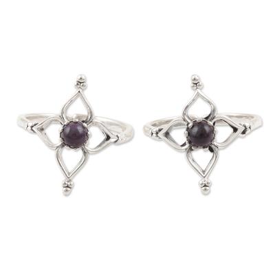 Amethyst toes rings, 'Violet Flower' (pair) - Handmade Amethyst and Sterling Silver Toe Rings (Pair)