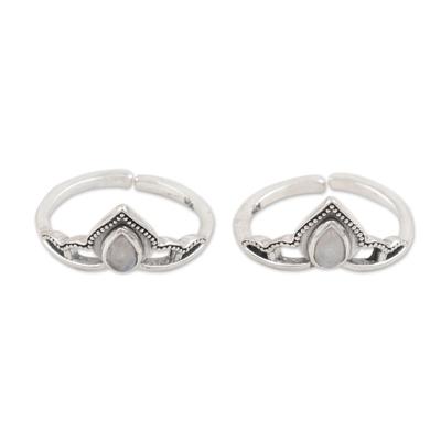 Rainbow moonstone toe rings, 'Mythic Crown' (pair) - Sterling Silver and Rainbow Moonstone Toe Rings (Pair)