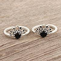Onyx toe rings, 'Black Tiara' (pair) - Hand Crafted Sterling Silver and Onyx Toe Rings (Pair)