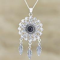 Onyx pendant necklace, 'Dark Dreams' - Handmade Sterling Silver and Onyx Pendant Necklace