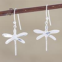 Sterling silver dangle earrings, 'Wings of Desire' - Sterling Silver Dragonfly Dangle Earrings from India