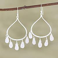 Rose quartz chandelier earrings, 'Passion of Love' - Sterling Silver and Rose Quartz Dangle Earrings from India