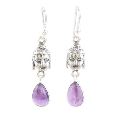Amethyst dangle earrings, 'Violet Buddha' - Amethyst and Sterling Silver Buddha Dangle Earrings