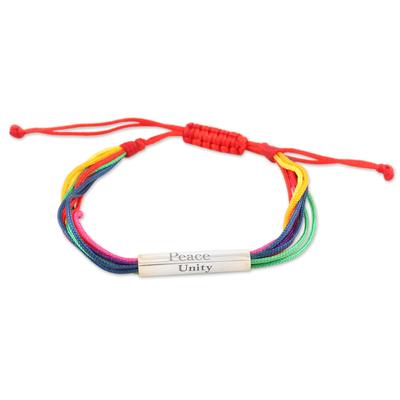 Sterling silver macrame pendant bracelet, 'Rainbow Nation' - Handmade Sterling Silver Rainbow-Hued Pendant Bracelet